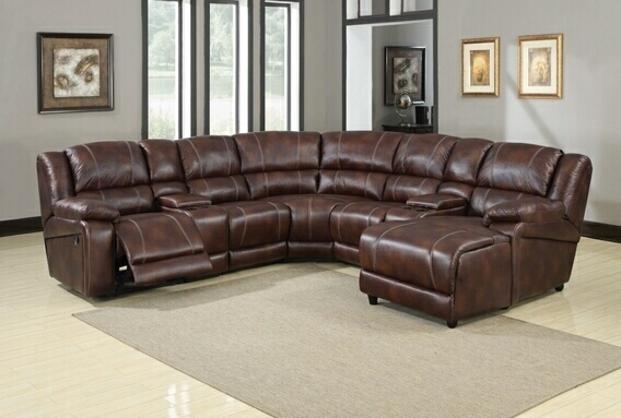 7 Piece Sectional Sofa | Faux Leather Reclining Sectional Throughout Sectional Sofas With Consoles (Photo 4 of 10)
