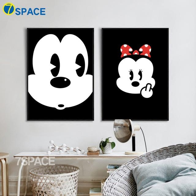 7 Space Mickey Mouse Canvas Painting Modern Cartoon Wall Art Intended For Mickey Mouse Canvas Wall Art (Photo 3 of 20)