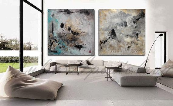 90 Inch Huge Watercolor Print Diptych Painting Abstract Art Inside Modern Abstract Huge Wall Art (Photo 19 of 20)