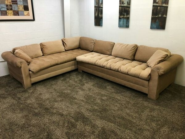 912  $100 Down  Gold/light Brown Chenille Sectional Sofa Set Regarding Eugene Oregon Sectional Sofas (Image 2 of 10)