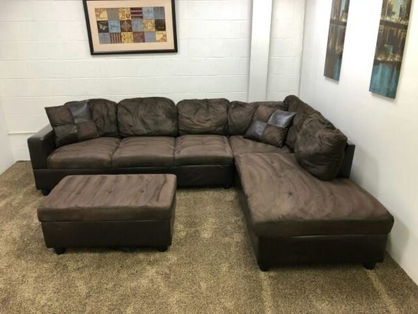 920  $100 Down  Dark Brown Micofiber/leather Sectional Sofa W Within Eugene Oregon Sectional Sofas (Image 3 of 10)