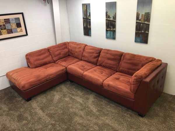 925 – $100 Down – Red/orange Microfiber And Red Leather Sectional Inside Eugene Oregon Sectional Sofas (Image 4 of 10)
