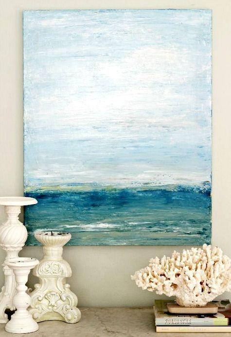 99 Best Abstract Water Paintings Images On Pinterest | Canvases Regarding Abstract Ocean Wall Art (Image 1 of 20)
