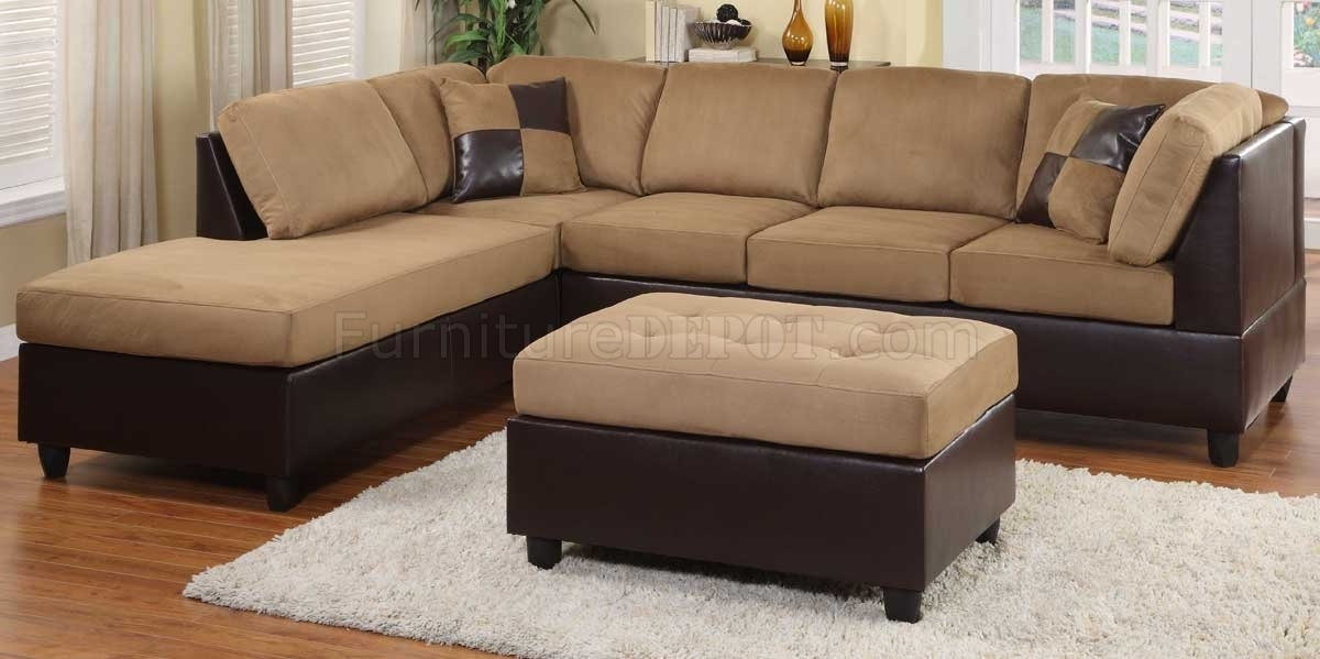 9909Br Comfort Sectional Sofa In Light Brownhomelegance Regarding Sectional Sofas At Bangalore (Photo 4 of 10)