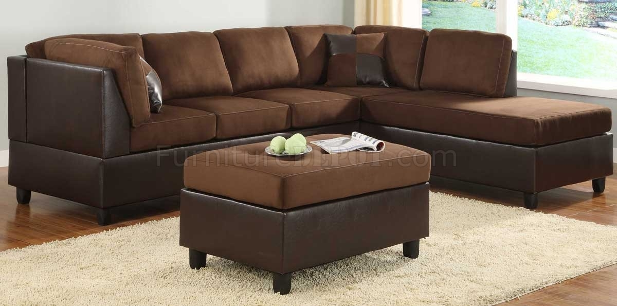 9909Ch Comfort Sectional Sofa In Chocolate Microfiberhomelegance Within Chocolate Brown Sectional Sofas (Photo 4 of 10)