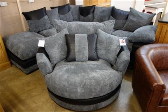 A Dino Black Fabric Corner Sofa And Dina Black Fabric Swivel Chair For Sofas With Swivel Chair (Image 1 of 10)