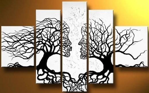 A Pair Of Black Whitetrees Modern Canvas Art Wall Decor Abstract Intended For Canvas Wall Art Pairs (View 8 of 20)