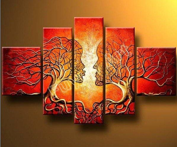 A Pair Of Trees Modern Canvas Art Wall Decor Abstract Oil Painting Throughout Canvas Wall Art Pairs (View 7 of 20)