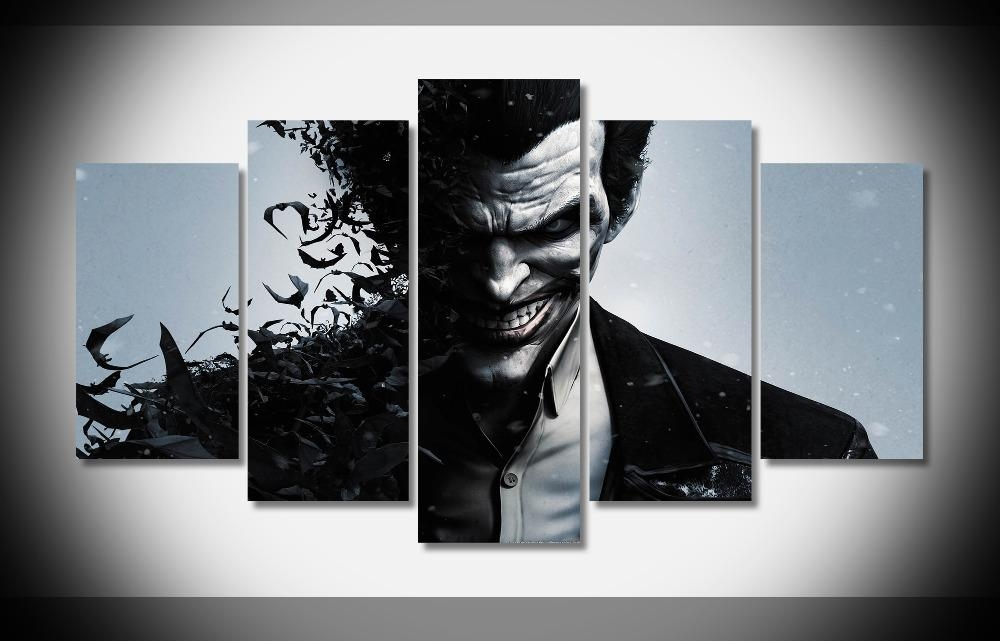 A1725 Batman Arkham Origins Joker Poster Print On Canvas Framed With Regard To Joker Canvas Wall Art (View 4 of 20)