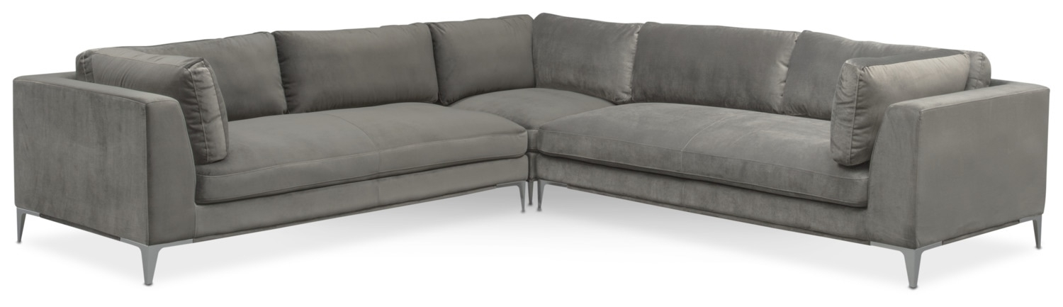 Aaron 3 Piece Sectional – Flannel | Value City Furniture And Mattresses With Sectional Sofas At Aarons (Image 2 of 10)