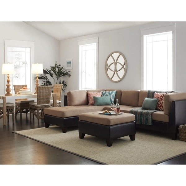 Abbyson Charlotte Beige Sectional Sofa And Ottoman – Free Shipping For Charlotte Sectional Sofas (View 7 of 10)