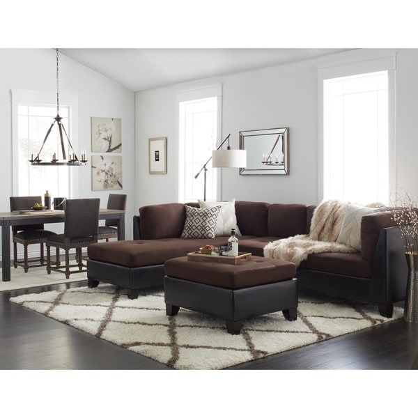 Abbyson Charlotte Dark Brown Sectional Sofa And Ottoman – Free Pertaining To Charlotte Sectional Sofas (View 4 of 10)
