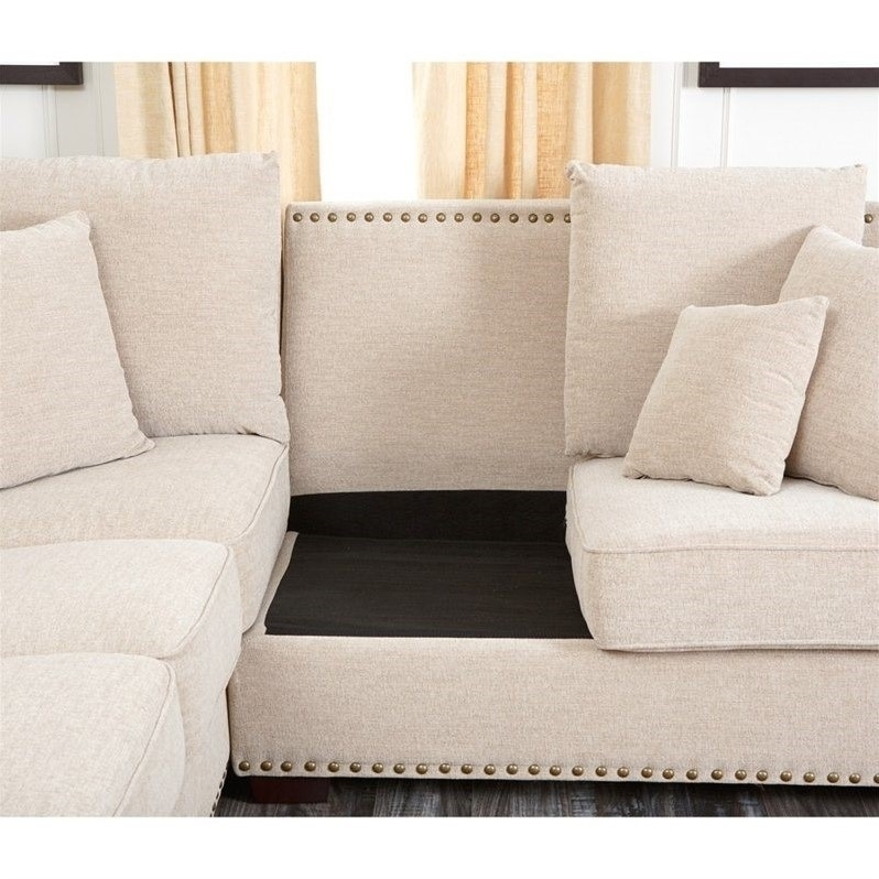 Abbyson Living Bromley Fabric Nailhead Sectional Sofa In Sandstone Throughout Sectional Sofas With Nailheads (View 10 of 10)