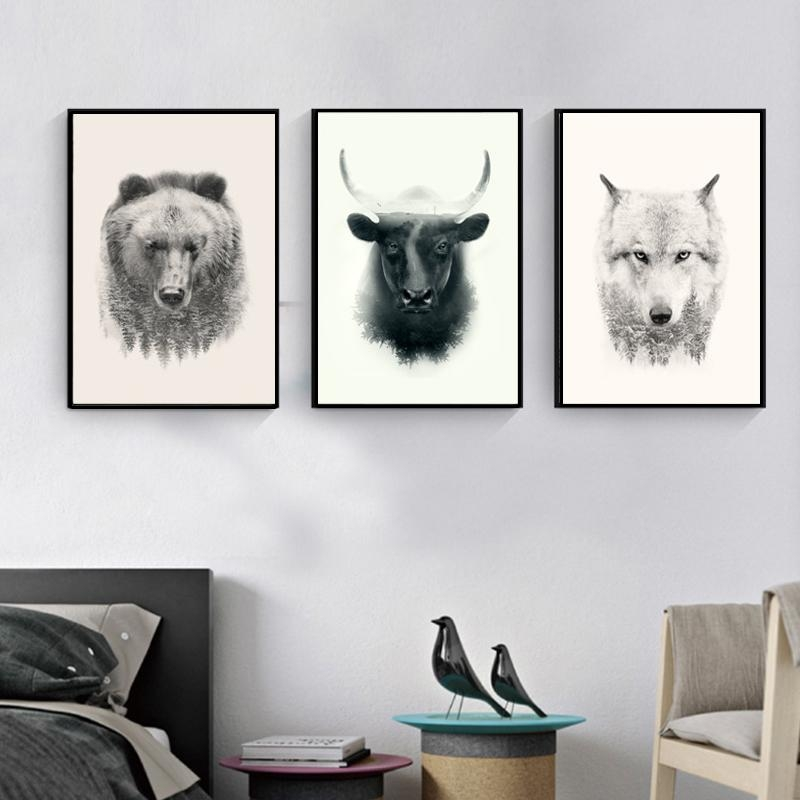 Abstract Animal Portrait Wall Art Picture Bull Bear Wolf Canvas In Portrait Canvas Wall Art (Image 4 of 20)