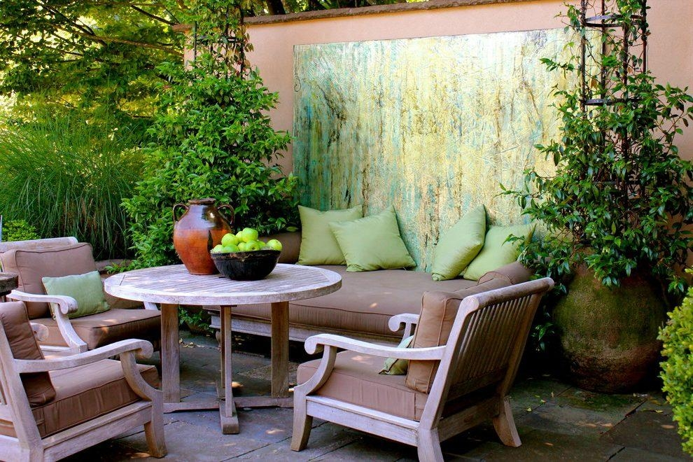 Abstract Art Design Ideas Patio Traditional With Outdoor Living With Regard To Abstract Garden Wall Art (Image 3 of 20)