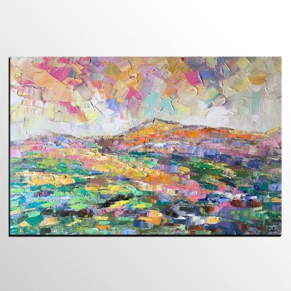 Abstract Art Painting, Abstract Mountain Landscape Painting, Extra With Regard To Abstract Landscape Wall Art (Image 5 of 20)