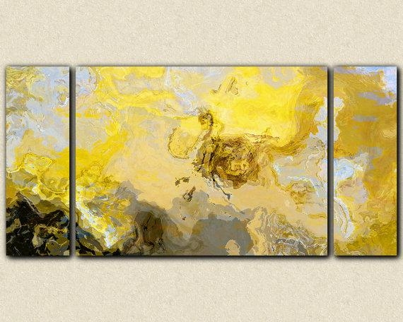 Abstract Art Print Triptych Oversize Canvas Print, 30X60 To 40X78 With Yellow And Grey Abstract Wall Art (View 2 of 20)