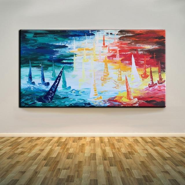 Abstract Art Sea Boats Oil Painting On Canvas Hand Painted Three With Abstract Art Wall Hangings (Image 2 of 20)
