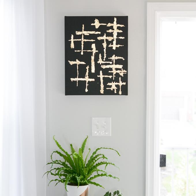 Abstract Black And Gold Leaf Canvas Art Within Abstract Leaves Wall Art (View 15 of 20)