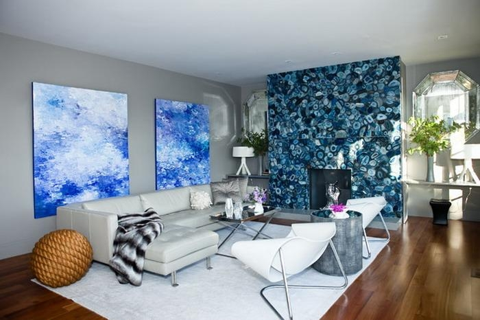Abstract Blue Wall Art In Modern Living Room – Wallpaper Mural Intended For Abstract Wall Art Living Room (Image 4 of 20)