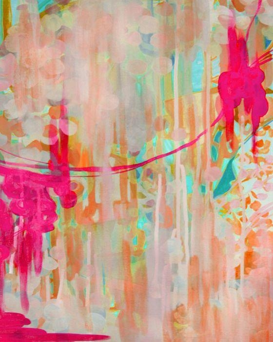Abstract Bright Painting Colorful Painting Pink Green Abstract With Abstract Neon Wall Art (View 3 of 20)