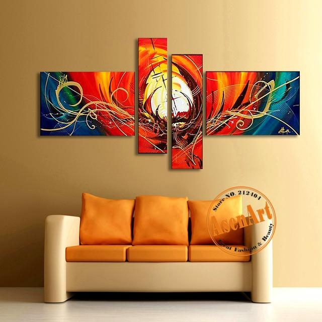 Abstract Canvas Oil Painting Handmade Modern Abstract Wall Art Throughout Abstract Wall Art For Living Room (Image 6 of 20)