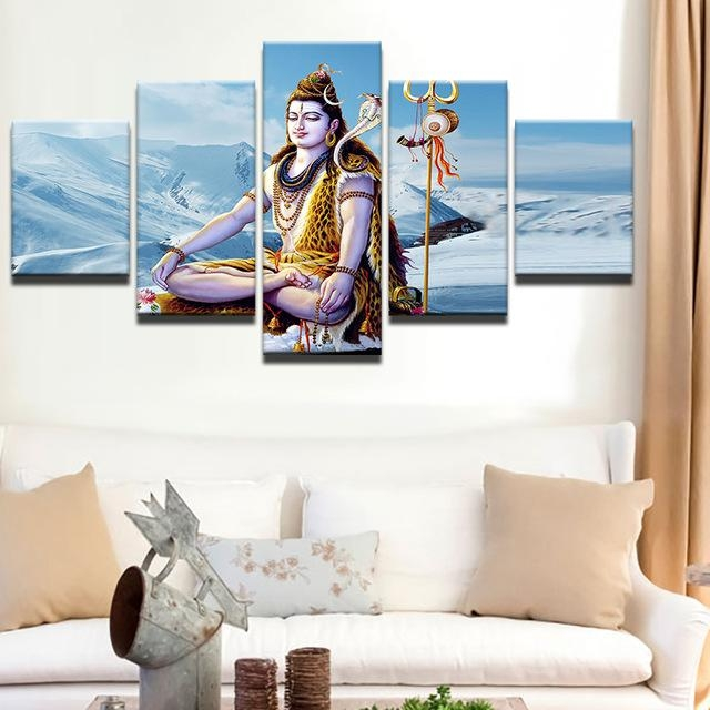 Abstract Canvas Painting Wall Art Poster Style Wall Picture 5 With India Abstract Wall Art (Image 3 of 20)