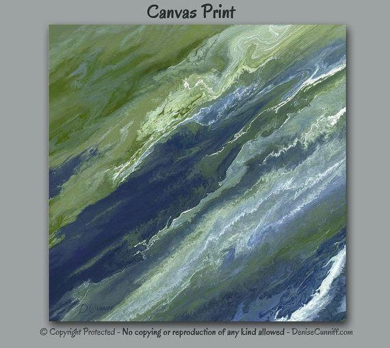 Abstract Canvas Wall Art, Navy Blue Olive Green Sage Slate, Office Throughout Olive Green Abstract Wall Art (Image 4 of 20)