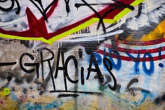 "Abstract Graffiti Wall Art Photography – Gracias"" Posters Throughout Abstract Graffiti Wall Art (Image 6 of 20)"