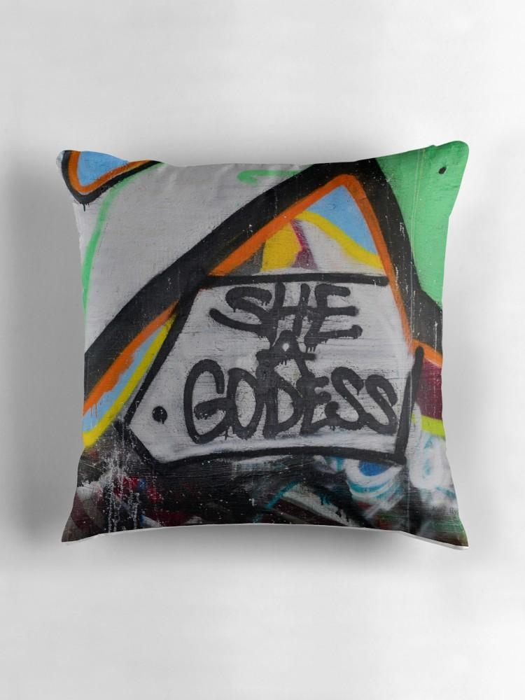 "Abstract Graffiti Wall Art, She A Godess"" Throw Pillowskmryan With Regard To Abstract Graffiti Wall Art (Image 7 of 20)"
