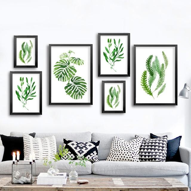 Abstract Green Plants Canvas Paintings Natural Leaf Wall Art With Abstract Leaves Wall Art (Image 3 of 20)