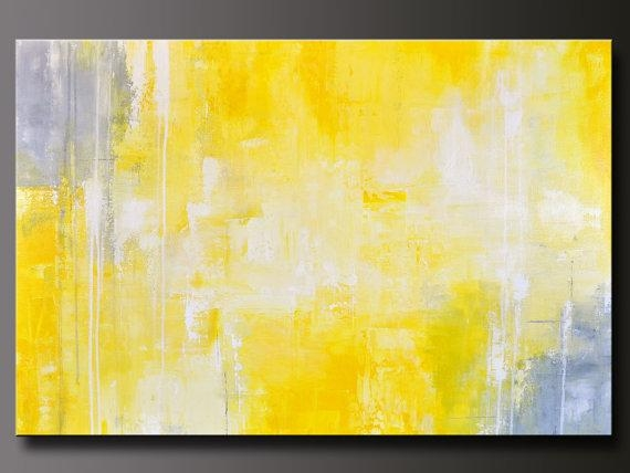 Abstract In Yellow 13 – Abstract Acrylic Painting – Contemporary Inside Yellow And Grey Abstract Wall Art (View 17 of 20)