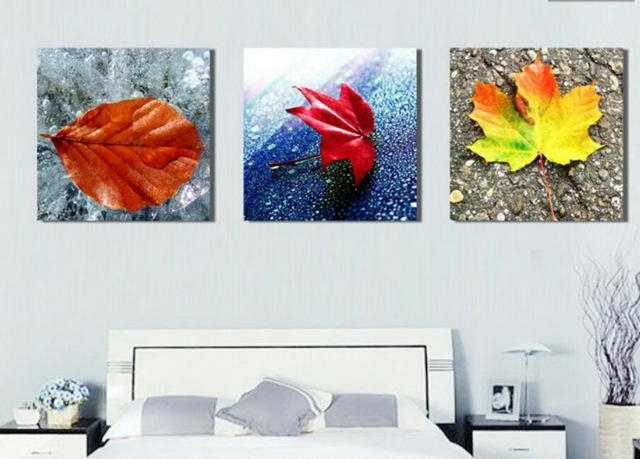 Abstract Leaf Painting Living Room Decoration Pictures Wall Art Throughout Abstract Leaves Wall Art (Image 4 of 20)