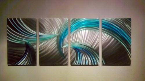 Abstract Metal Wall Art  Modern Decor Sculpture Tempest Blue Green Intended For Abstract Metal Wall Art Painting (Image 6 of 20)