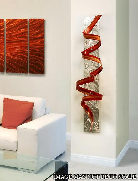 Abstract Metal Wall Art Sculpture / Red Orange Phoenix Twist Throughout Abstract Orange Wall Art (Image 3 of 20)