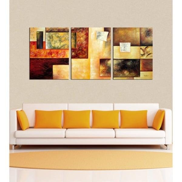 Abstract Multicolor' Hand Painted 3 Piece Oil Painting Set – Free Throughout Overstock Abstract Wall Art (Image 4 of 20)