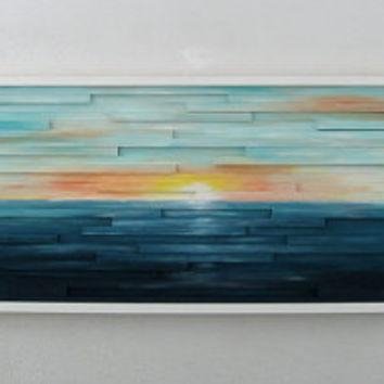 Abstract Ocean Landscape Scenery – Wood From Modernrusticart On Intended For Abstract Ocean Wall Art (Image 4 of 20)