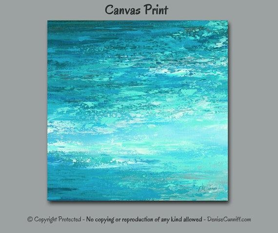 Abstract Painting Canvas Print, Large Wall Art Square, Coastal With Abstract Ocean Wall Art (Image 6 of 20)