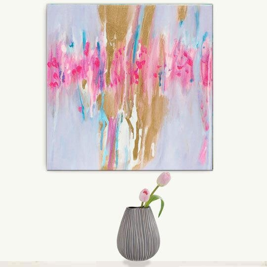 Abstract Painting Gold, Abstract Canvas Print, Large Abstract With Regard To Pastel Abstract Wall Art (View 17 of 20)