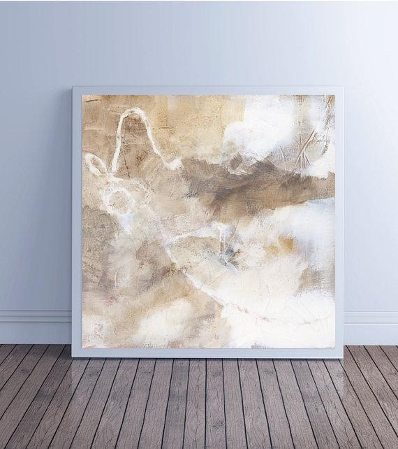 Abstract Painting Large Abstract Art Canvas Art Fine Art Prints Intended For Neutral Abstract Wall Art (Image 5 of 20)