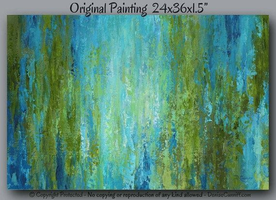 Abstract Painting, Large Canvas Art, Olive Green, Blue, Teal Home For Olive Green Abstract Wall Art (Image 6 of 20)