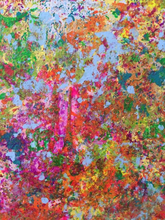 Abstract Painting Modern Wall Art Neon Wall Art Expressionist Wall Pertaining To Abstract Neon Wall Art (View 7 of 20)