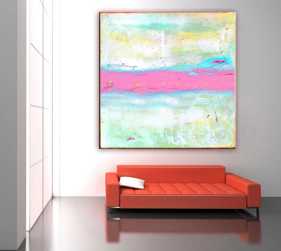 Abstract Painting Print, Abstract Art Pink Painting, Large Canvas Within Pastel Abstract Wall Art (Image 7 of 20)