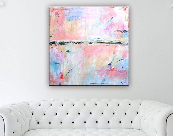 Abstract Painting Print Large Abstract Art Canvas Print With Pastel Abstract Wall Art (Image 6 of 20)