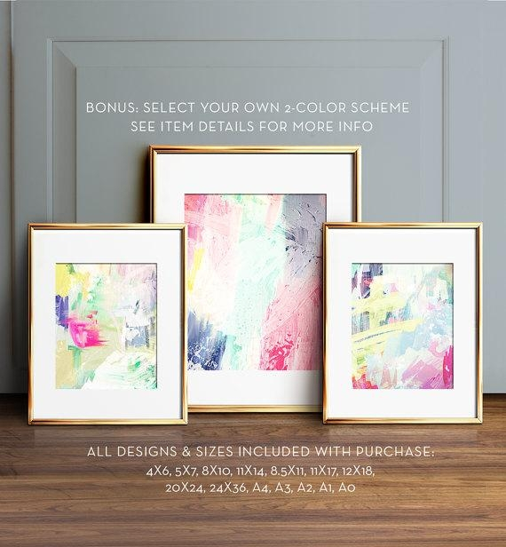 Abstract Painting Set Printable Art Gallery Wall Art Modern With Regard To Pastel Abstract Wall Art (View 20 of 20)