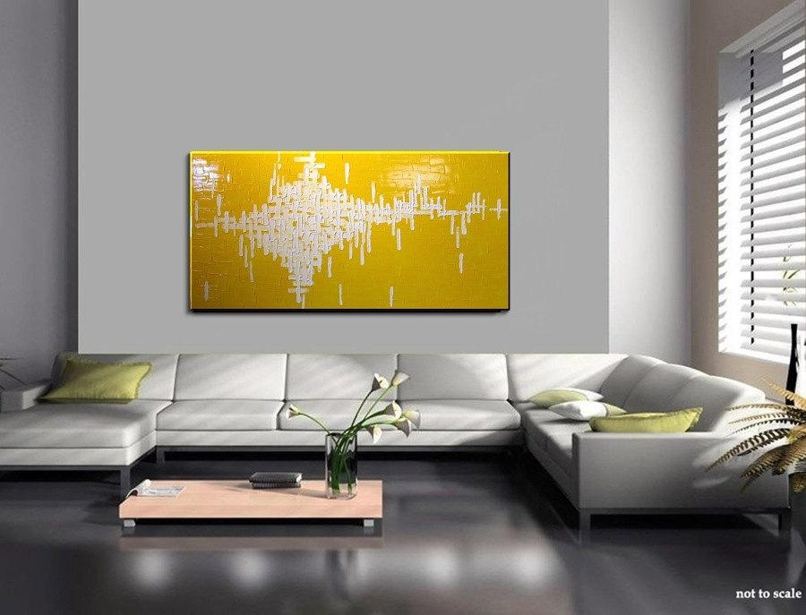 Abstract Painting Yellow Large Bright Happy Modern Original Knife Regarding Happiness Abstract Wall Art (Image 4 of 20)