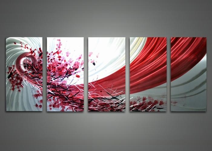Abstract Red And White Metal Wall Art 60 X 24In | Fabu Art Regarding Abstract Metal Wall Art Painting (View 20 of 20)