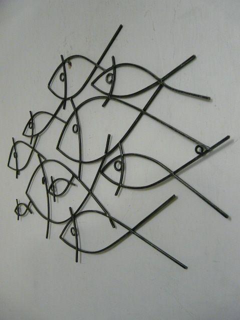 Abstract School Of Fish Metal Wall Art Decor | The Office For Abstract Metal Fish Wall Art (Image 8 of 20)