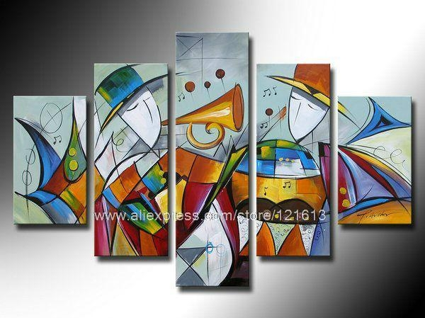 Abstract Wall Art Group Painting On Canvas Home Decor Wall Hanging Regarding Abstract Art Wall Hangings (Image 4 of 20)
