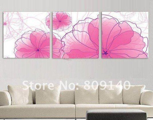 Abstract White Purple Rose Flower Oil Painting Canvas Modern With Regard To Pink Canvas Wall Art (Image 3 of 20)